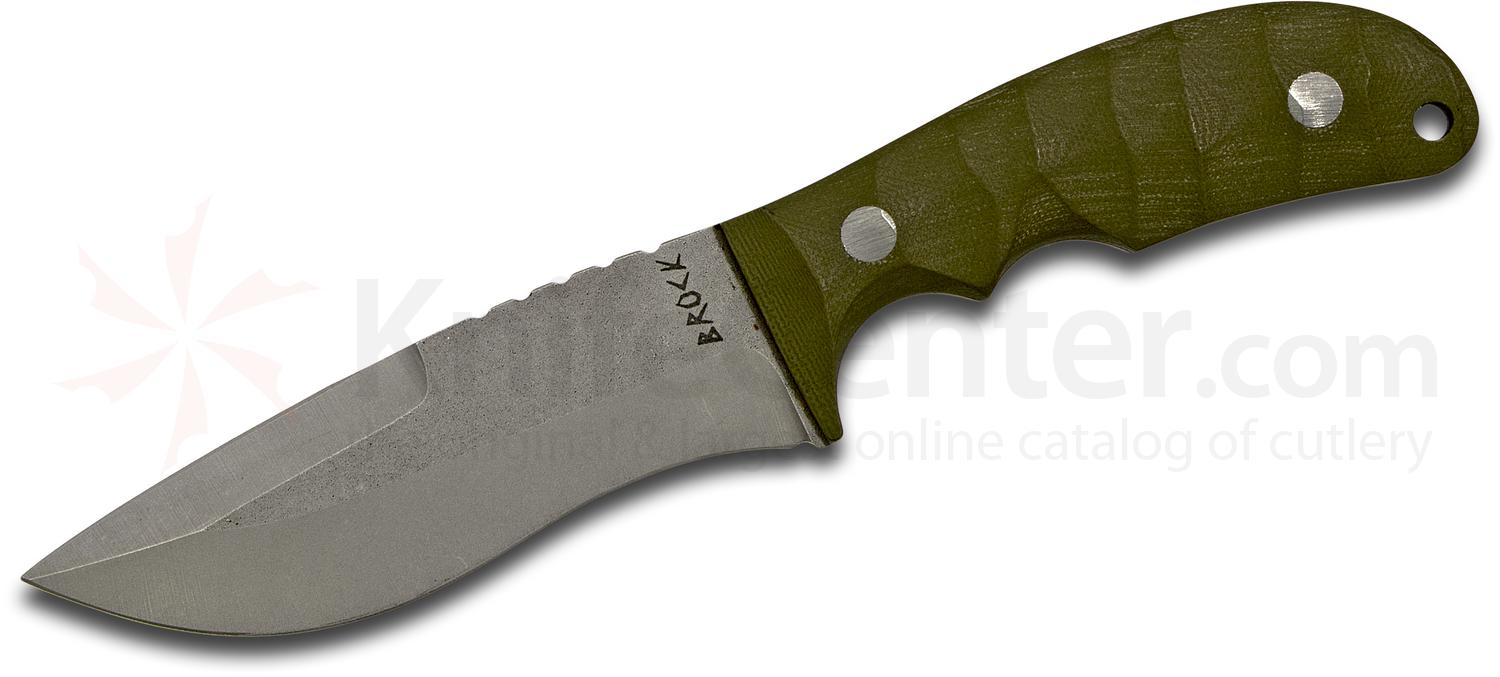 Brock Blades Custom Large Recurve Fixed 4.5 inch CPM-154 Working Finish Drop Point Blade, OD Green G10 Handles, Kydex Sheath