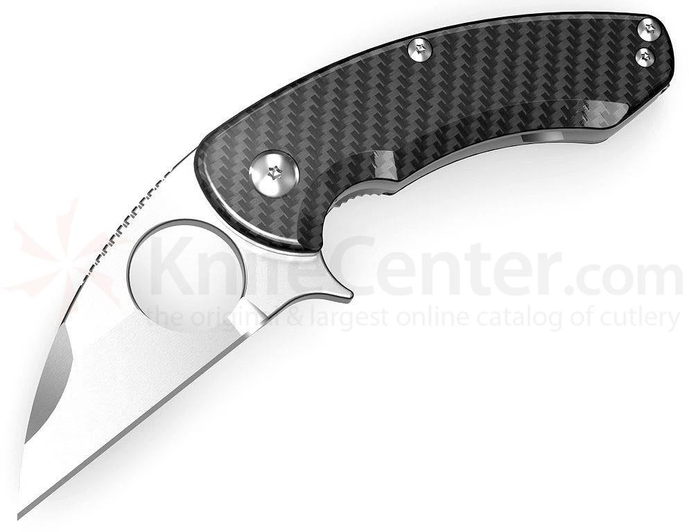 Brous Blades Silent Soldier Flipper Linerlock 2.75 inch D2 Satin Blade, Carbon Fiber Scales