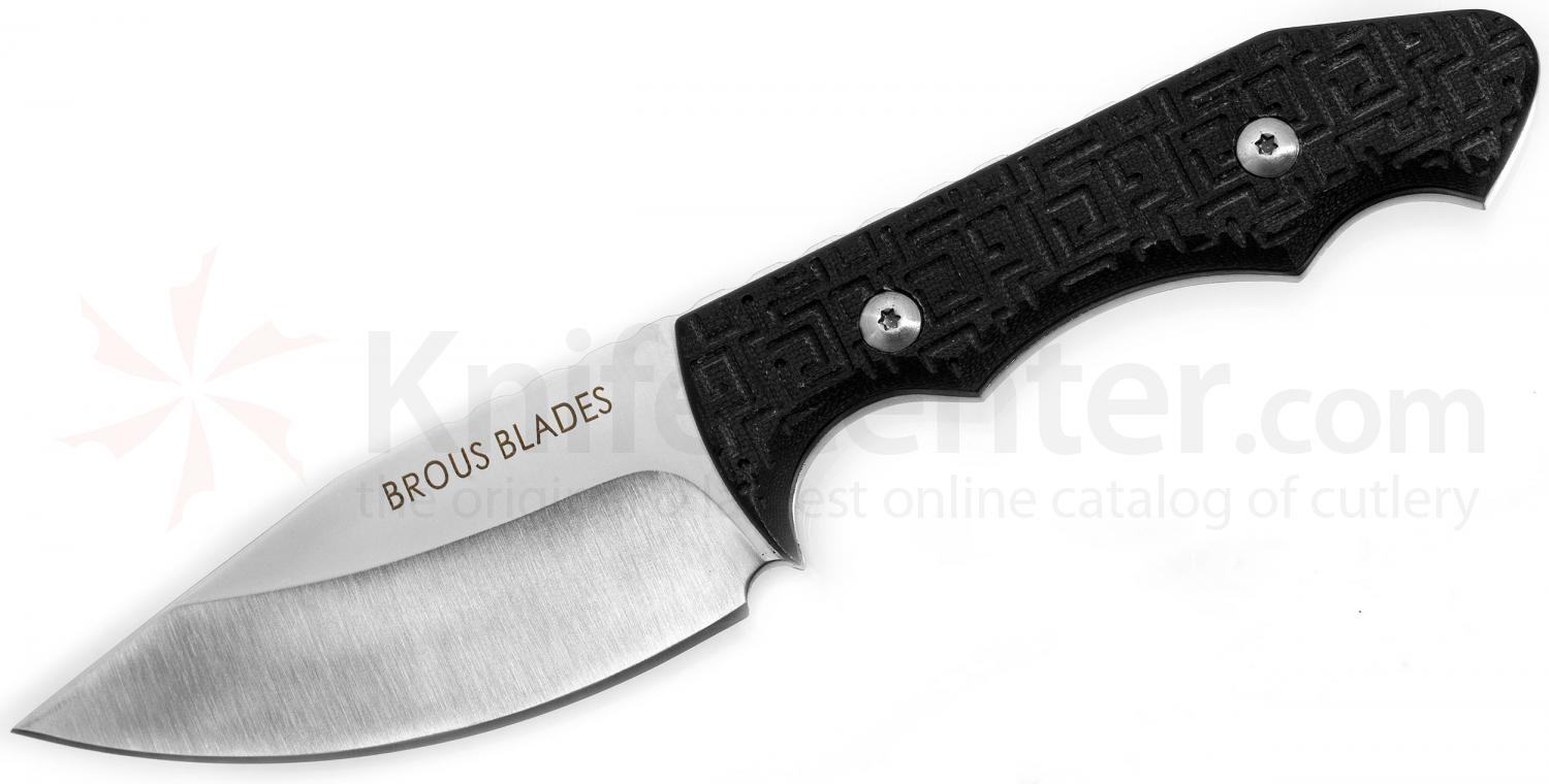 Brous Blades Threat Fixed 3.6 inch Satin D2 Blade, G10 Handles, Kydex Sheath