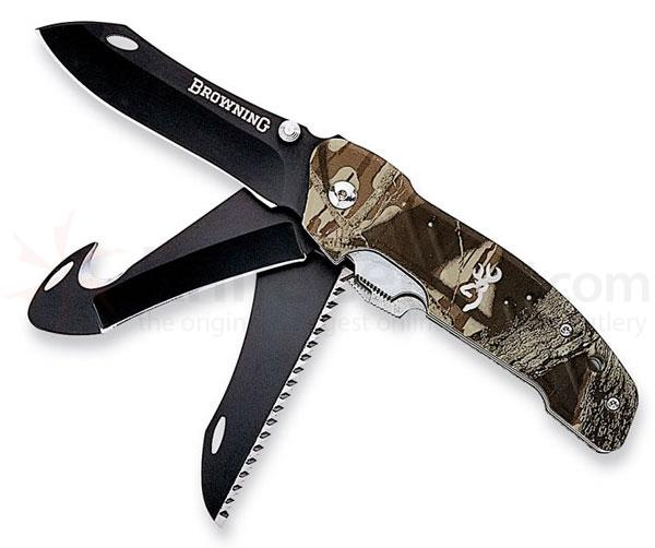 "Browning Extreme F.D.T. 3 Blade Mossy Oak Handle 3.5"" Main ..."