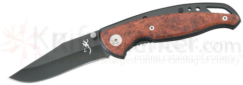 Browning Framelock Folding Plain Blade, 4-1/2 inch Closed, Cocobolo Wood Handles