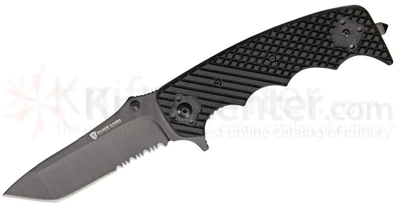 Browning Black Label Stone Cold Tanto Folding 3-3/4 inch Black Combo Blade, Black G10 Handles