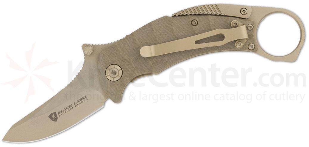 Browning Black Label Vanquish Folding Knife 2.75 inch Plain Blade, Tan G10 Handles