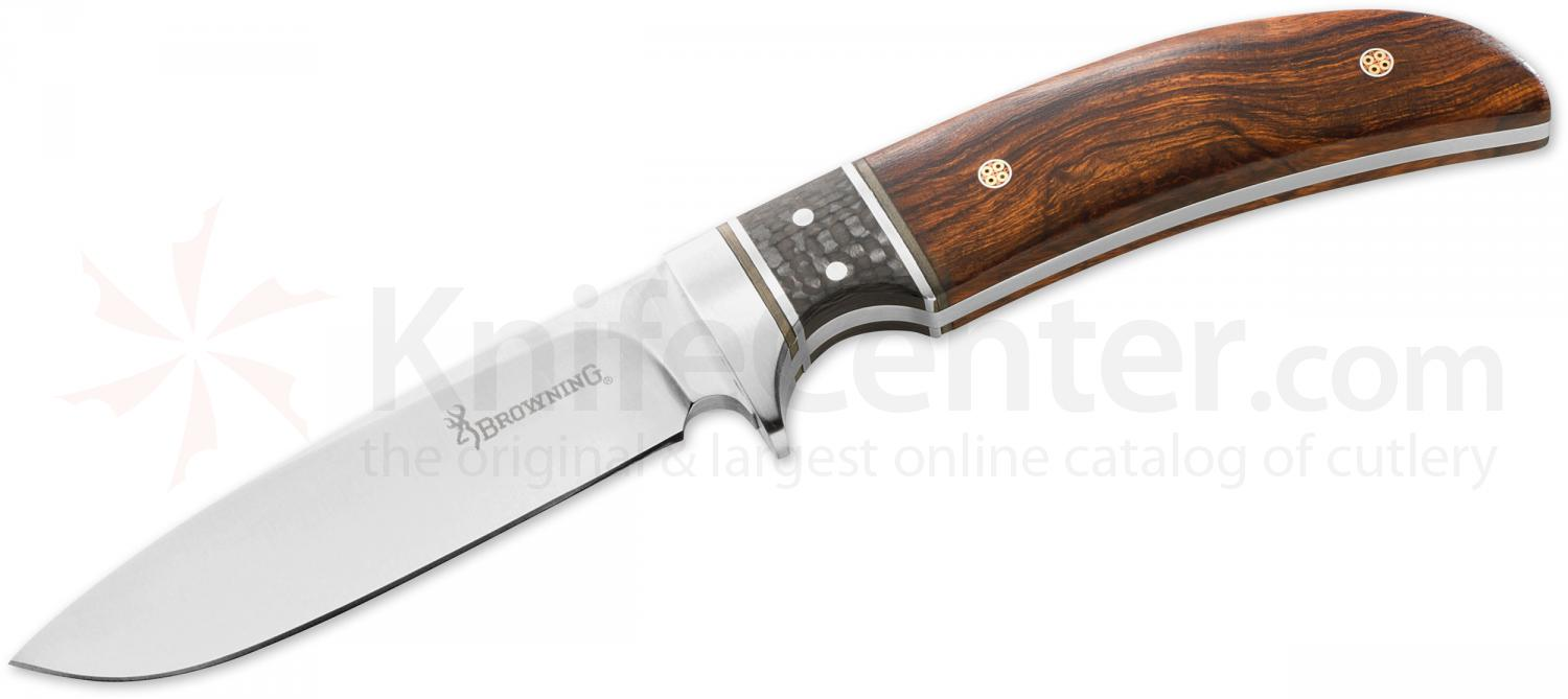 Browning Woods Runner Fixed 3.625 inch Drop Point Blade, Desert Ironwood Handles, Leather Sheath