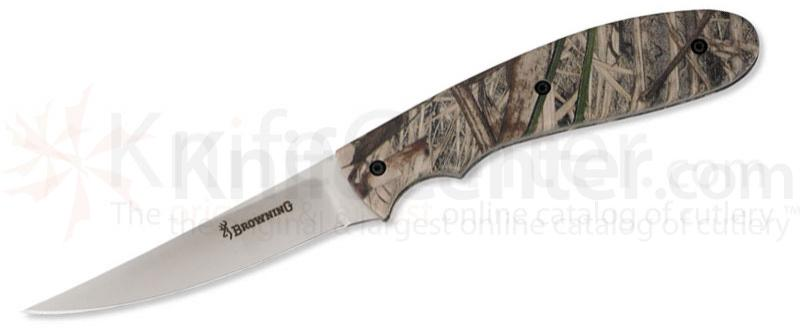 Browning Bird and Trout Knife, Fixed 3-3/4 inch Plain Blade, Camo Handles, Nylon Sheath