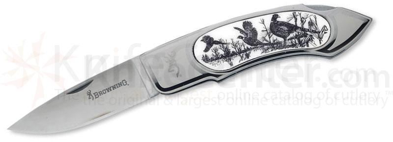 Browning Pheasant Scrimshaw Folder, 4-1/4 inch Closed, Scrimshaw Inay of Pheasant Artwork