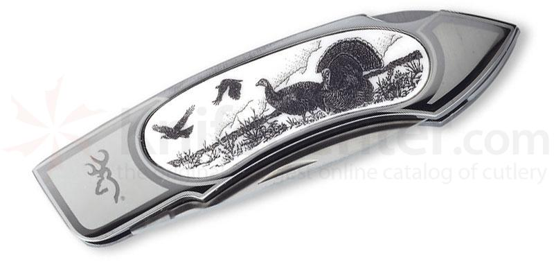 Browning Turkey Scrimshaw Folder, 4-1/4 inch Closed, Scrimshaw Inlay of Turkey Artwork