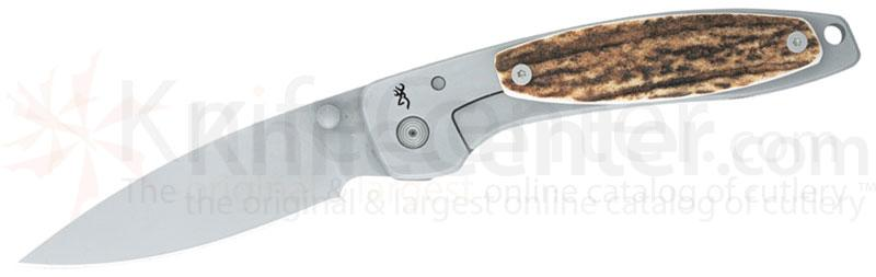 Browning Falcon Stag Folder, 4-1/4 inch Closed, Stag Handles