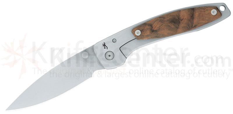 Browning Falcon Walnut Folding 4-1/4 inch Plain Blade, Stainless Frame with Walnut Onlay Handles