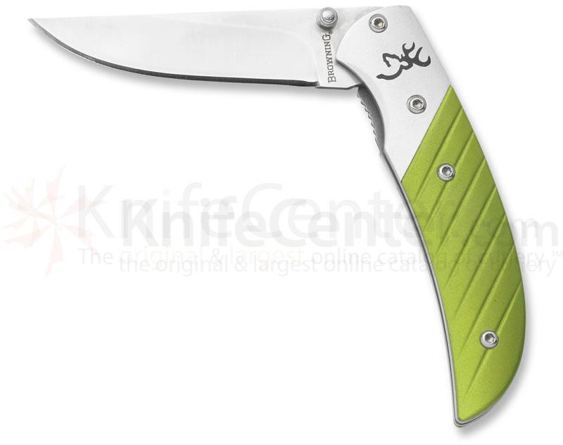 Browning Prism II Folding 2-5/8 inch Plain Blade, Green Aluminum Handles