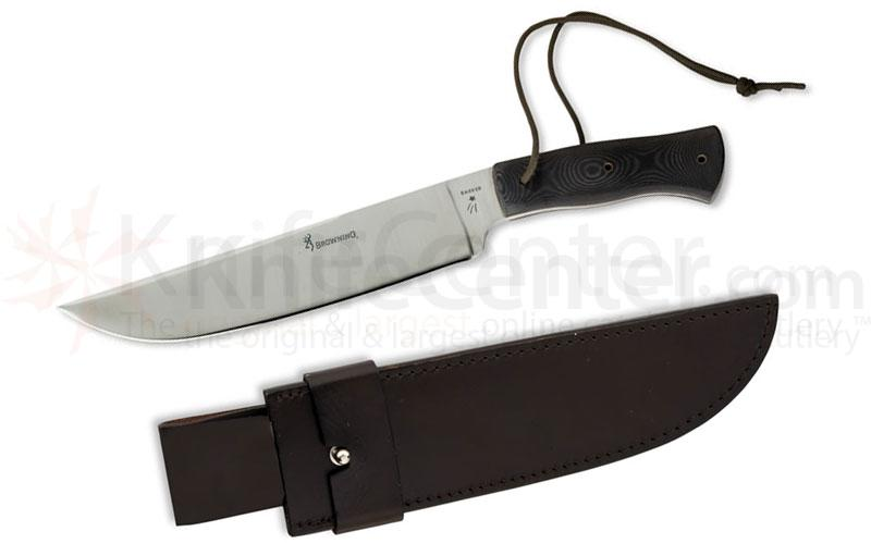 Browning Crowell/Barker Competition Knife, Fixed 10 inch High Carbon Steel Blade, Micarta Handles, Leather Sheath Included