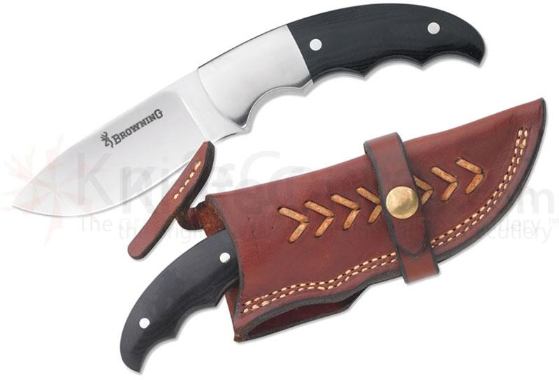 Browning Big Game Fixed 3-1/2 inch Plain Blade, Micarta Handles, Leather Sheath Included
