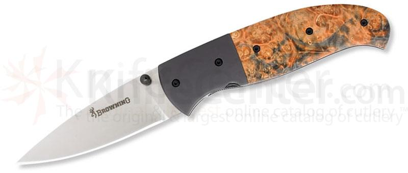Browning Escalade Large Skinner Folding 4-3/8 inch Closed Plain Blade, Elder Burl Wood Handles