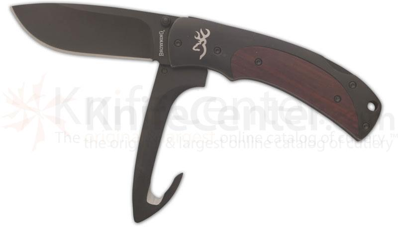 Browning Obsession Double Lockback Folding 3-1/4 inch Plain Blade, Wood Handles