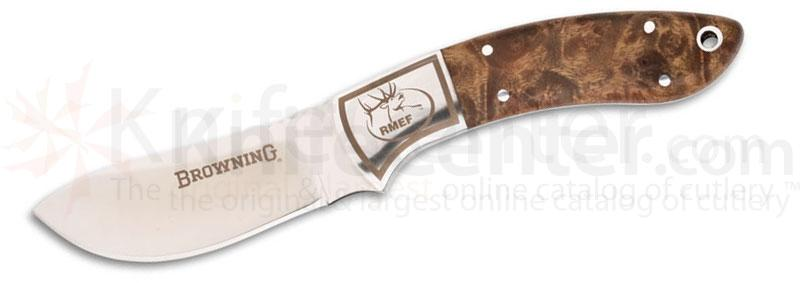 Browning Packer Rocky Mt. Elk Foundation  Semi Skinner Fixed 3 inch Plain Blade, Burl Wood Handles, Leather Sheath Included