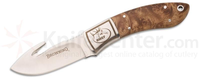 Browning Packer Rocky Mt. Elk Foundation Guthook Fixed 3 inch Plain Blade, Stag Handles, Leather Sheath Included