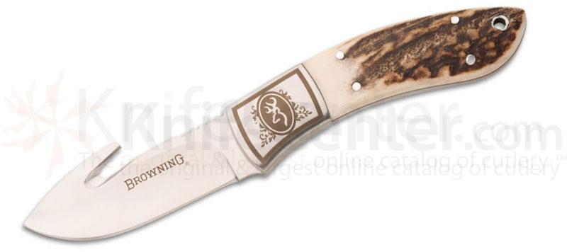 Browning Packer Guthook Fixed 3 inch Plain Blade, Stag Handles, Leather Sheath Included