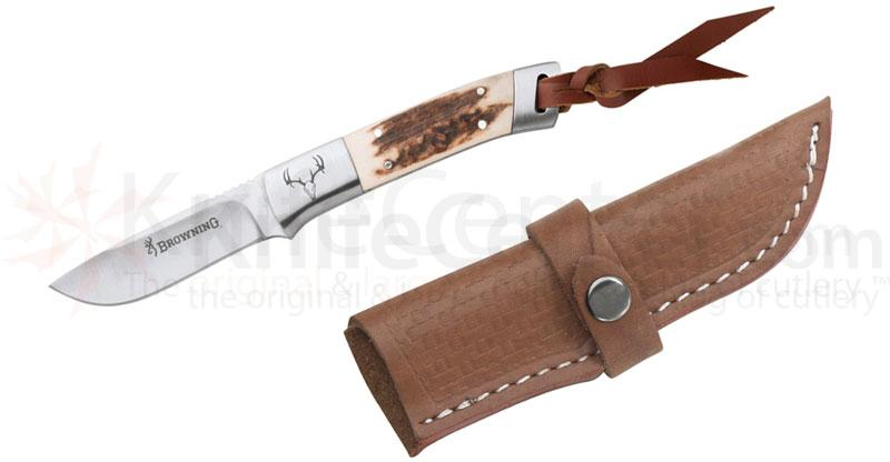 Browning Lil Bit Large Fixed 3-1/8 inch Plain Blade, Stag Handles, Leather Sheath Included