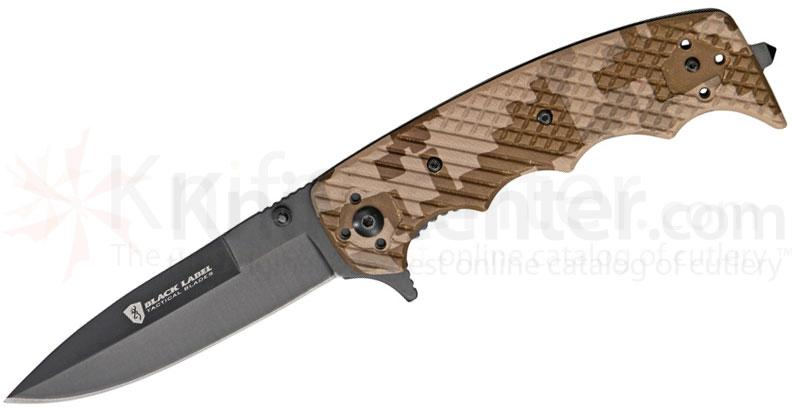 Browning Black Label Stone Cold Spear Folding 3-3/4 inch Plain Black Blade, Digital Camo G10 Handles
