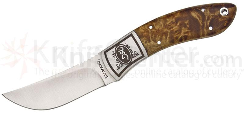 Browning Packer Clip Point Fixed 3-1/8 inch Plain Blade, Burl Wood Handles, Nylon Sheath
