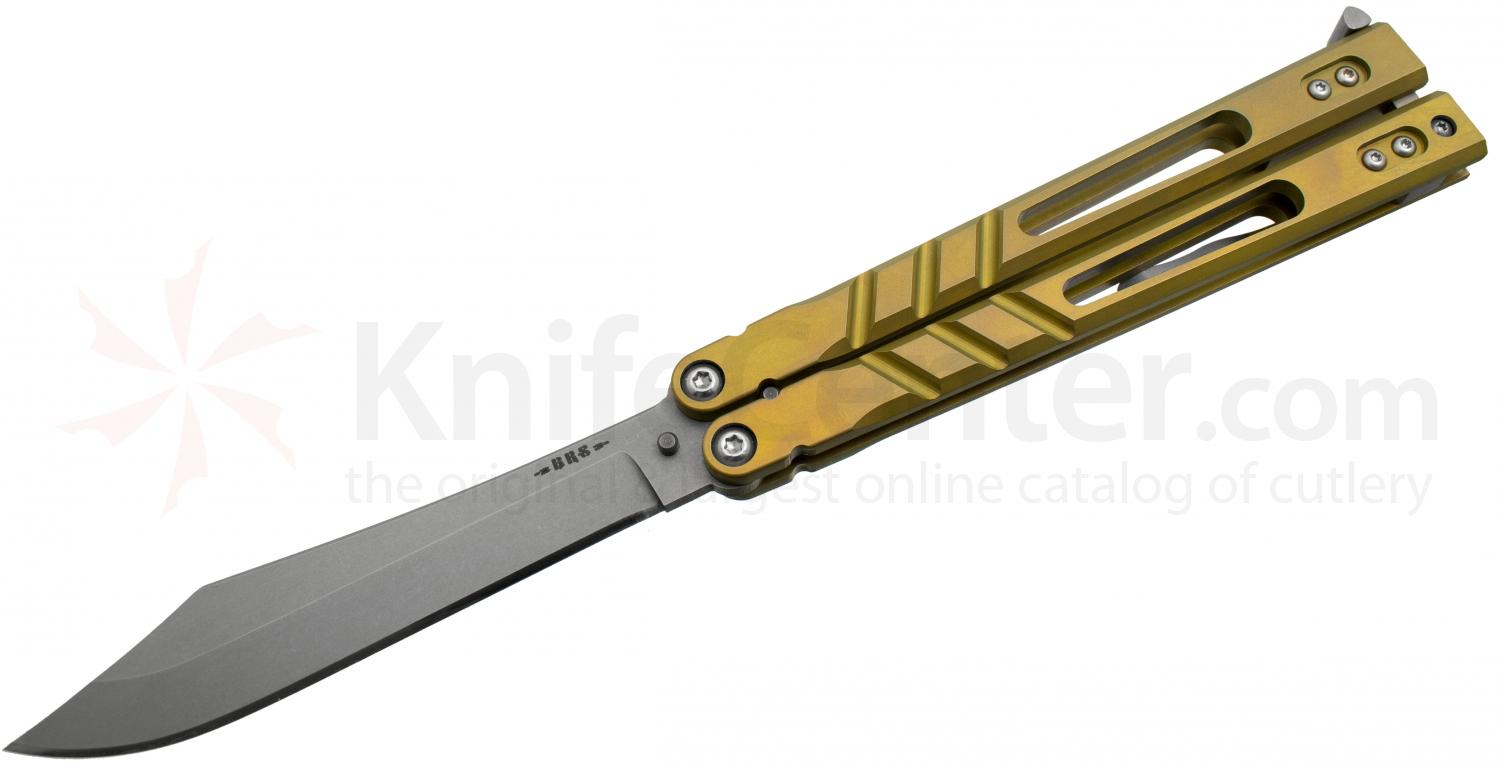 BRS Bladerunners Systems Premium Alpha Beast Balisong Butterfly 4.5 inch 154CM Clip Point Blade, Bronze Anodized Titanium Handles