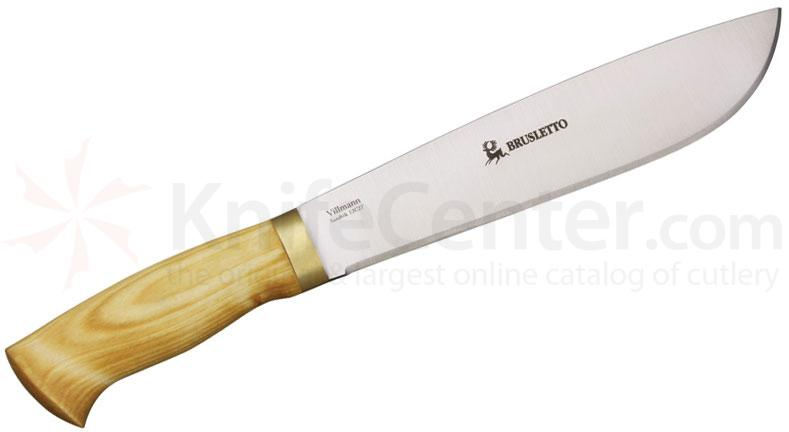 Brusletto Villmann Machete 8-3/4 inch Sandvik 12C27 Blade, Birch Handle, Brown Leather Sheath