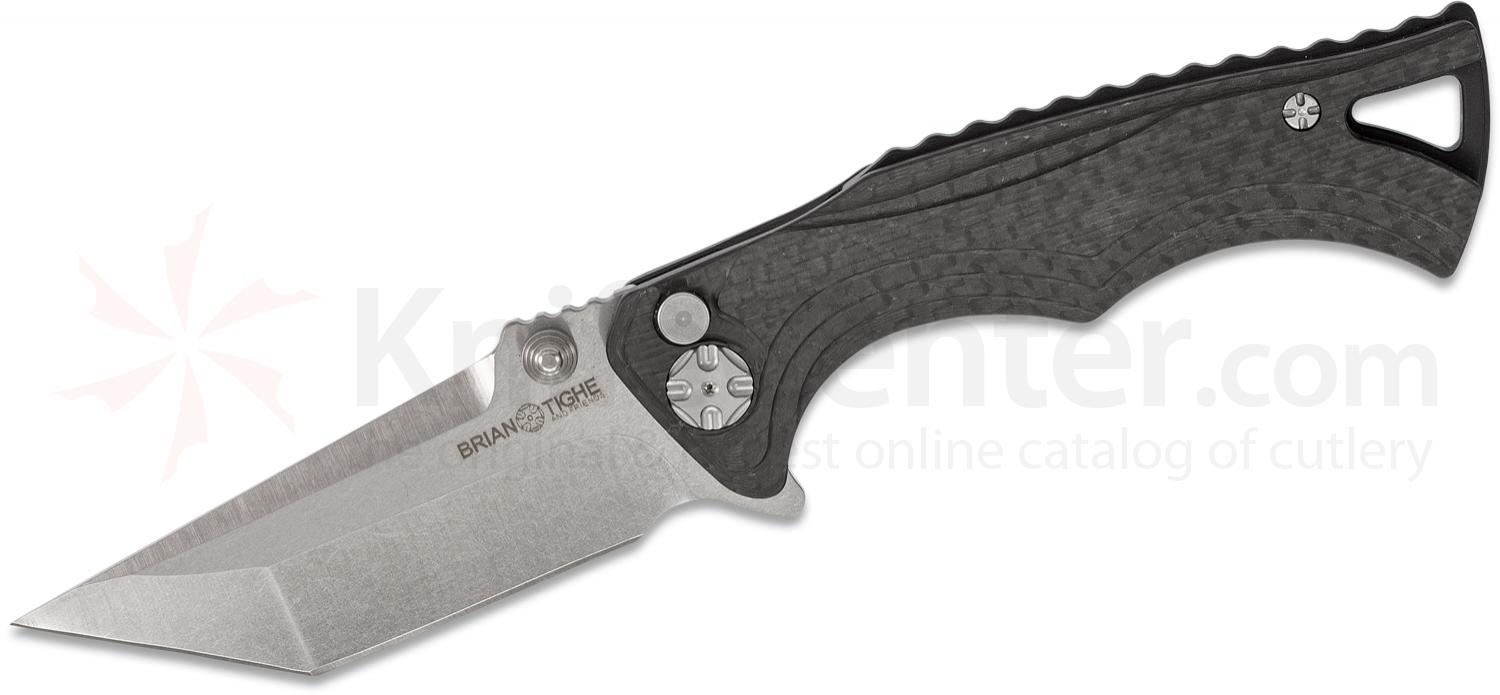 Brian Tighe and Friends Tighe Fighter Small Flipper Knife 3 inch 154CM Stonewashed Tanto Blade, Carbon Fiber Handles