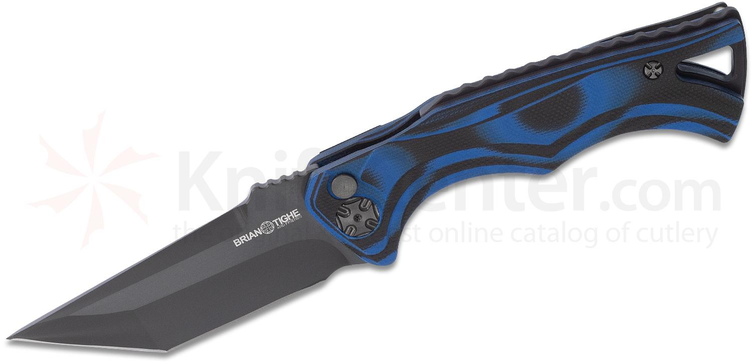 Brian Tighe and Friends Tighe Fighter Small AUTO Folding Knife 3 inch 154CM Black DLC Tanto Blade, Blue and Black G10 Handles
