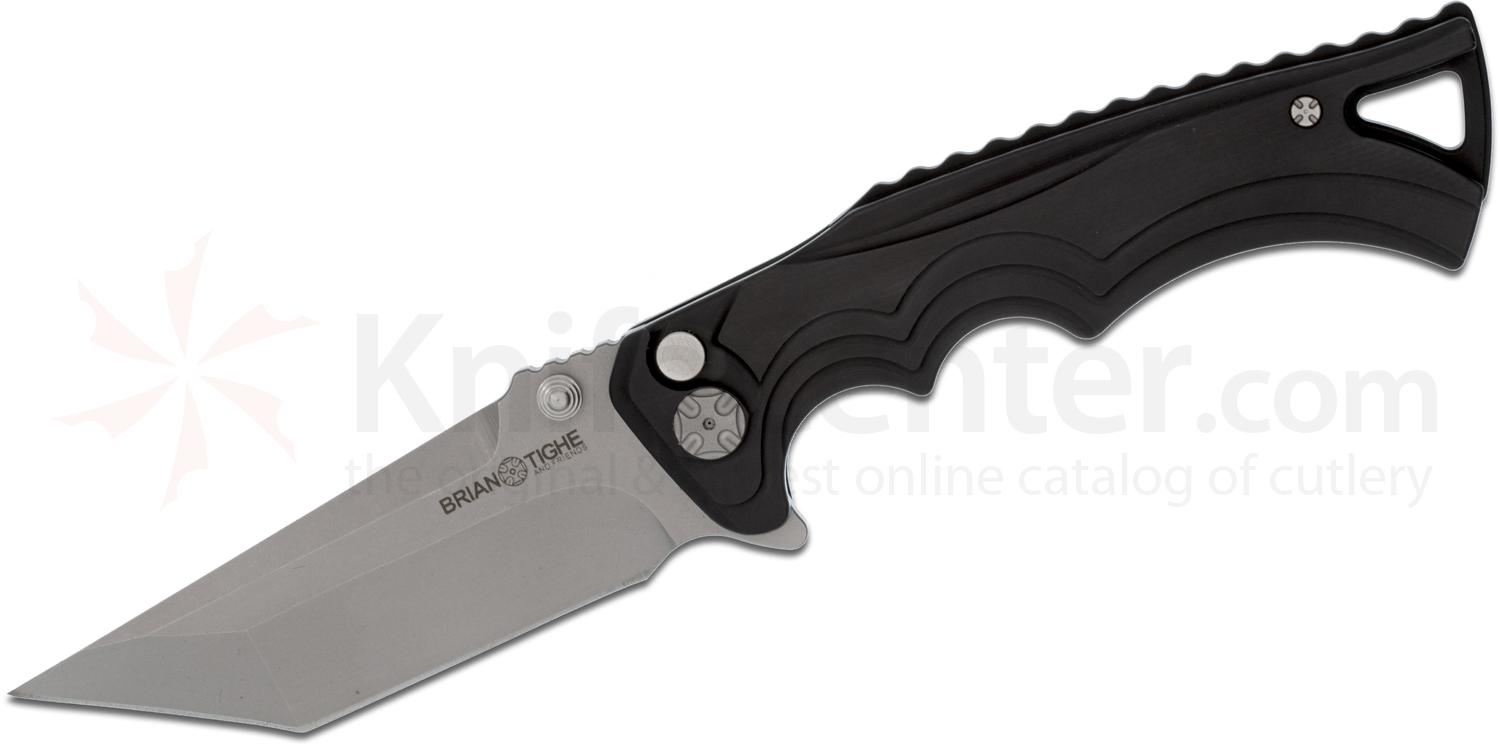 Brian Tighe and Friends Tighe Fighter Large Flipper 3.8 inch 154CM Bead Blast Tanto Blade, Black Aluminum Handles