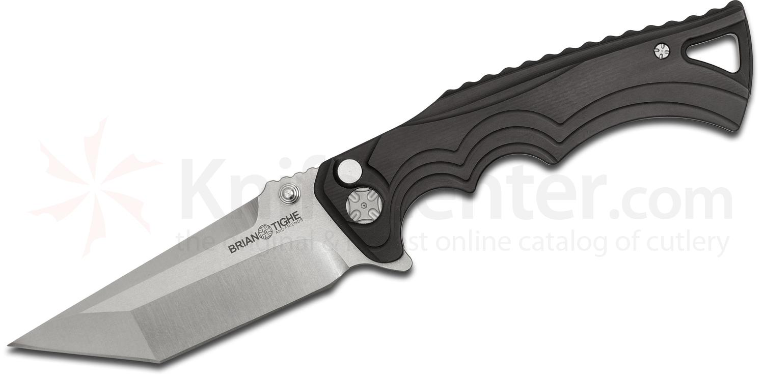 Brian Tighe and Friends Tighe Fighter Large Flipper 3.8 inch 154CM Stonewash Tanto Blade, Black Aluminum Handles