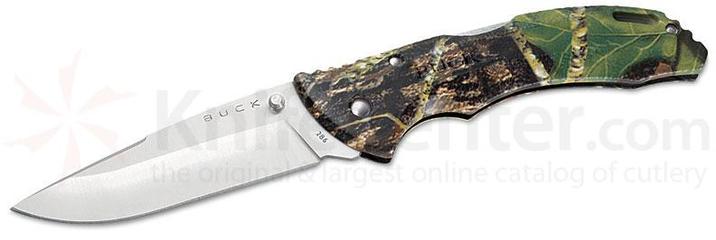 Buck Bantam BHW Folding 3-5/8 inch Plain Satin Blade, Mossy Oak Break-Up Handles