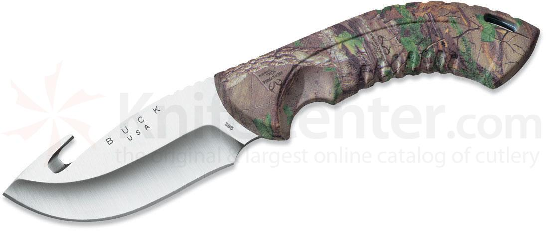 Buck 393 Omni Hunter 12PT Fixed 4 inch Blade with Guthook, RealTree Xtra Green Camo Handles