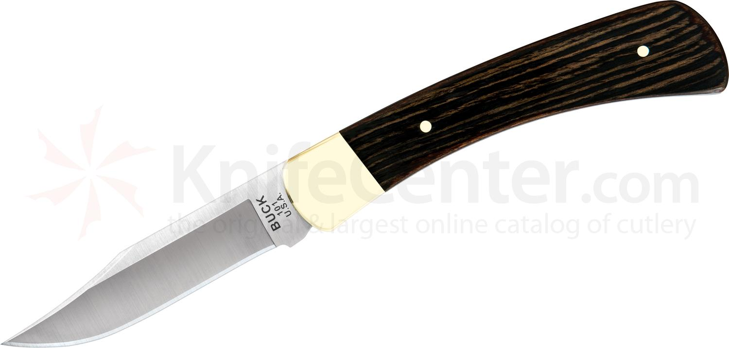 Buck 101 Hunter Fixed 3.75 inch Plain Blade, Macassar Ebony Dymondwood Handles, Leather Sheath