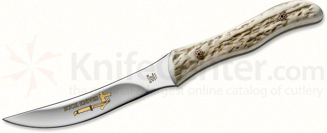 Buck Legacy Collection Vintage Logo Scout Fixed 3-1/2 inch Gold Plated Stainless Steel Blade, Elk Handle
