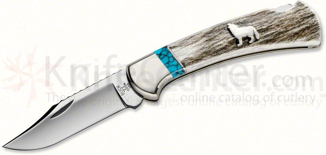 Buck WBC Wilde Bill Cody  inchWolf Spirit inch Ranger Knife Folding 3 inch Stainless Steel Blade, Elk Antler Handle