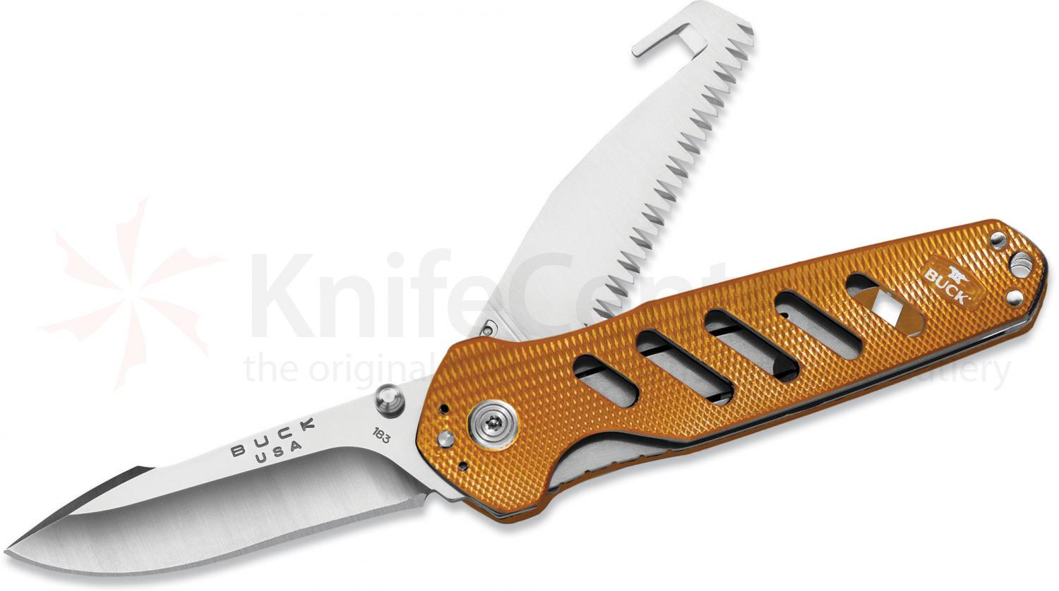 Buck 183 Alpha CrossLock Multi-Function Folding Knife 4.625 inch Closed, Gut Hook, Orange Aluminum Handles