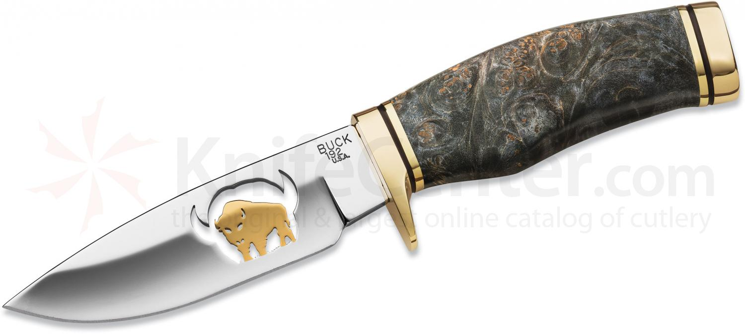 Buck 192 Vanguard Brass & Gold Buffalo Fixed 4-1/8 inch Blade, Black Burlwood Handles (0192BWSLE2)