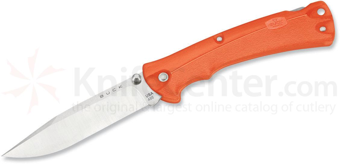 Buck 486 Folding BuckLite MAX Large Folding Knife 3-5/8 inch Blade, Orange GRN Handles