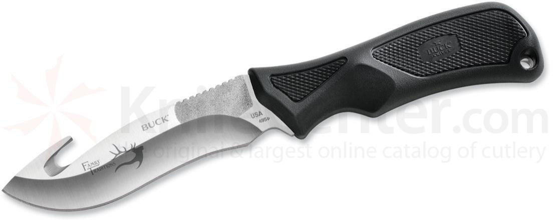 Buck 495 Family Traditions Adrenaline (Avid) Fixed 4-3/4 inch 420HC Blade with Guthook, Black Alcryn Handles