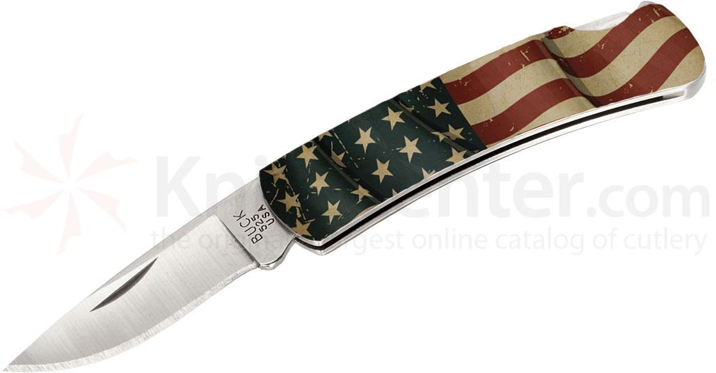 Buck 525 American Flag Gent Folding Knife 1-7/8 inch Blade, Stainless Steel Handles