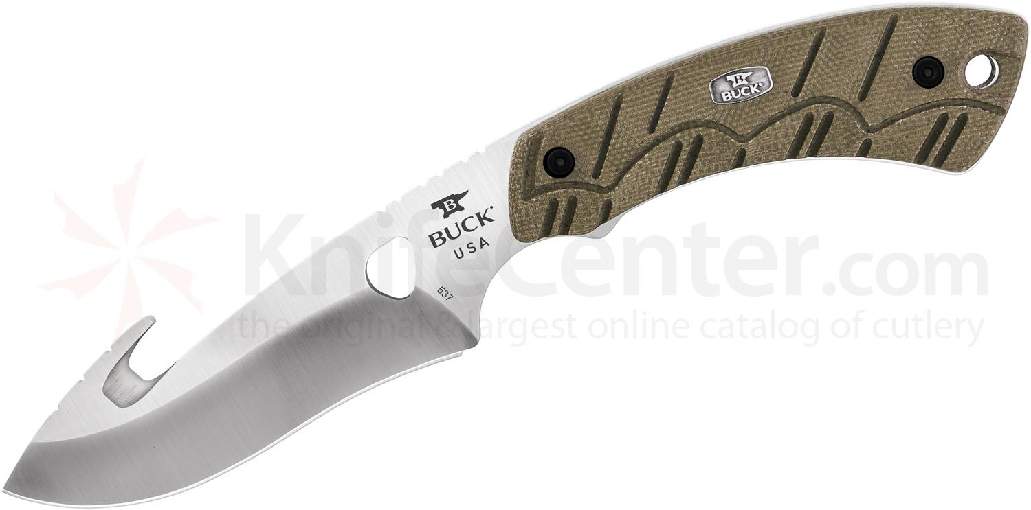 Buck 537 Open Season Skinner Fixed 4.5 inch S35VN Satin Blade with Guthook, OD Green Micarta Handles, Black Leather Sheath