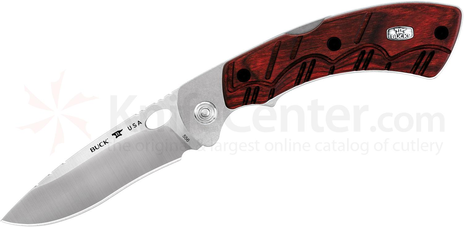 Buck 556 Open Season Skinner Folding Knife 3.75 inch Plain Blade, Red Wood Handles, Polyester Sheath
