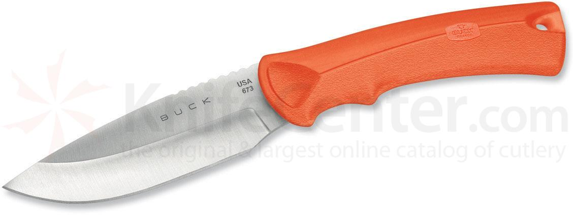 Buck 673 BuckLite MAX Small Fixed 3-1/4 inch Blade, Orange Textured Alcryn Rubber Handles