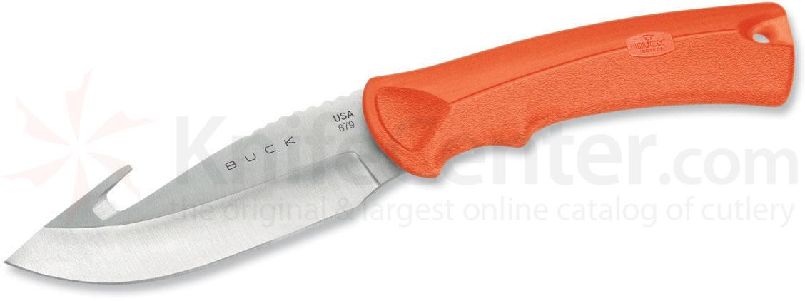 Buck 679 BuckLite MAX Large Hunting Knife 4 inch Blade with Guthook, Orange Textured Alcryn Rubber Handles