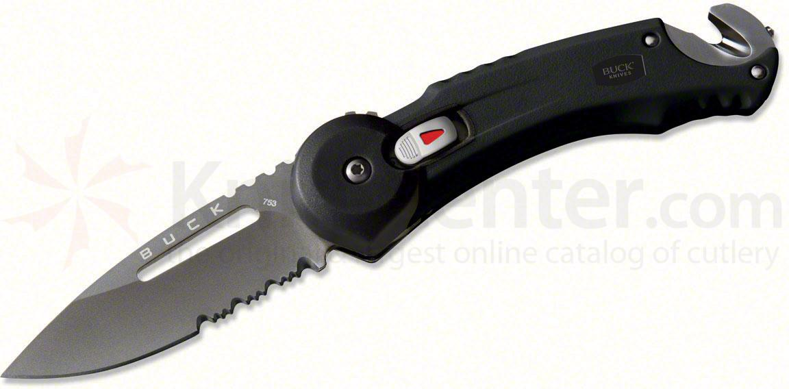Buck Knives Redpoint Rescue Black Handle 2.75 inch Titanium Coated Combo Blade with Seatbelt Cutter