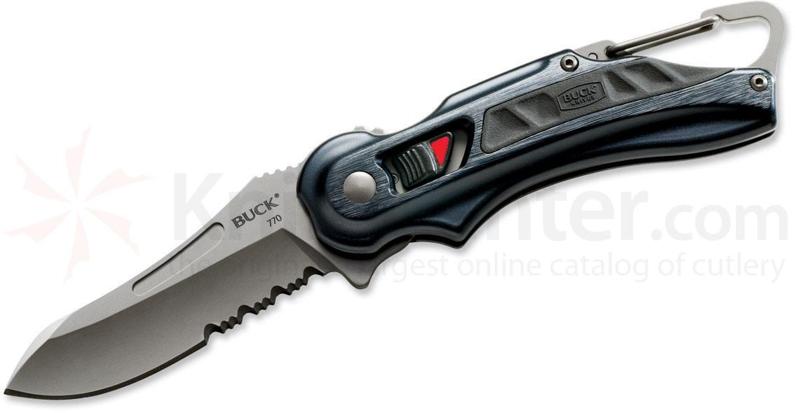 Buck 770 FlashPoint LE SafeSpin Folding 2-7/8 inch Titanium Coated Combo Blade, Black Aluminum Handles