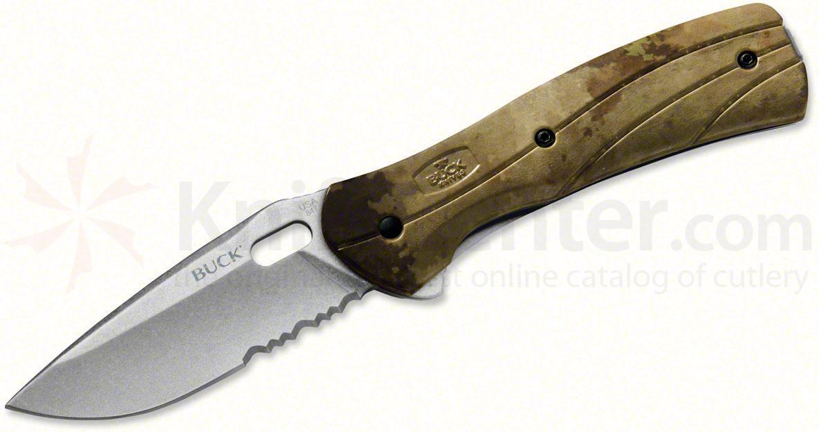 Buck 845 Vantage Force Pro Folding 3-1/4 inch Stonewashed S30V Combo Blade, A-TACS Camo Handles