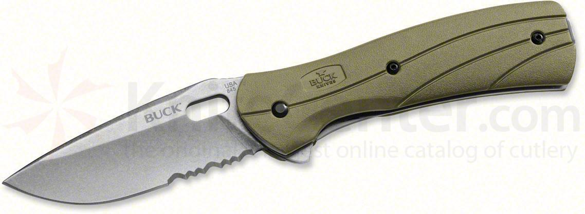 Buck 845 Vantage Force Select Folding 3-1/4 inch Stonewashed Combo Blade, Olive Drab Handles