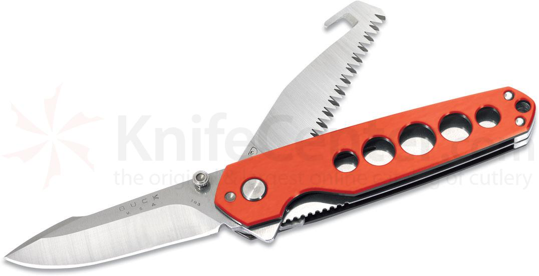 Buck 183 Alpha CrossLock Multi-Function Folder 4-5/8 inch Closed, Guthook, Orange Aluminum Handles