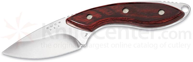 Buck 196 Mini Alpha Hunter Fixed 2-1/2 inch Blade, Rosewood Handles, Leather Sheath